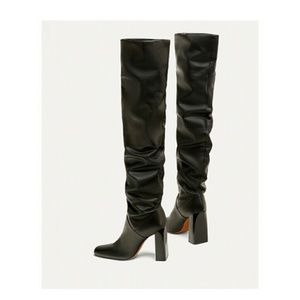 269c58a5cff Zara Over the knee high heel leather boots 7003 NWT